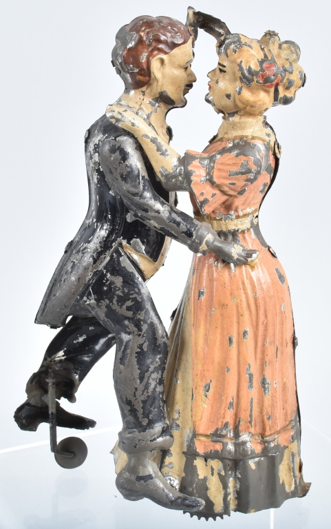 GERMAN Painted Tin Windup TANGO DANCERS