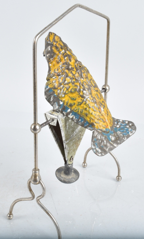 GERMAN Painted Tin Balance toy PARROT