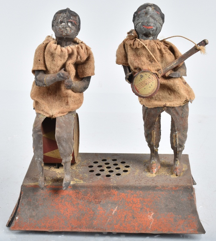 GERMAN Pianted Tin Windup BLACK MUSICAL FIGURES