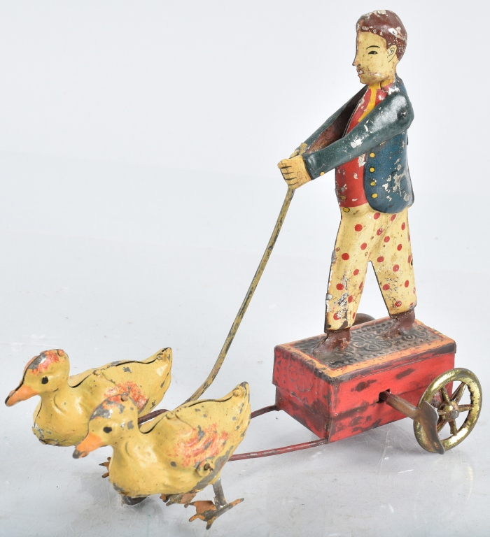 PREWAR JAPAN Tin Windup BOY WITH DUCKS