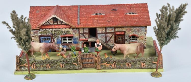ELASTOLIN VILLAGE FARM HOUSE w/ FIGURES