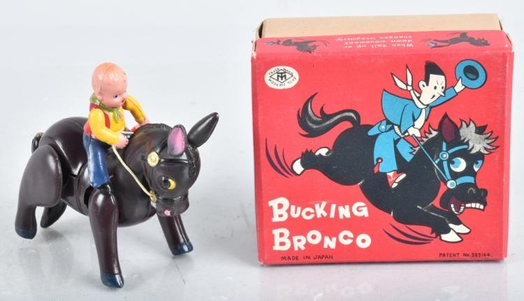 JAPAN Celluloid Windup BUCKING BRONCHO w/BOX
