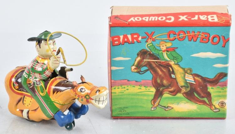 JAPAN Tin Windup BAR X COWBOY w/ BOX