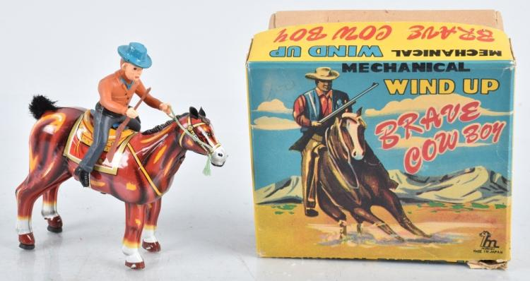 JAPAN Tin Windup BRAVE COWBOY w/ BOX