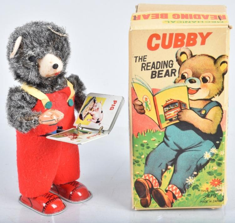 JAPAN Windup CUBBY THE READING BEAR w/BOX