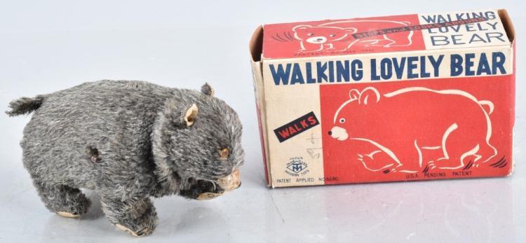 JAPAN Windup WALKING LOVELY BEAR w/ BOX