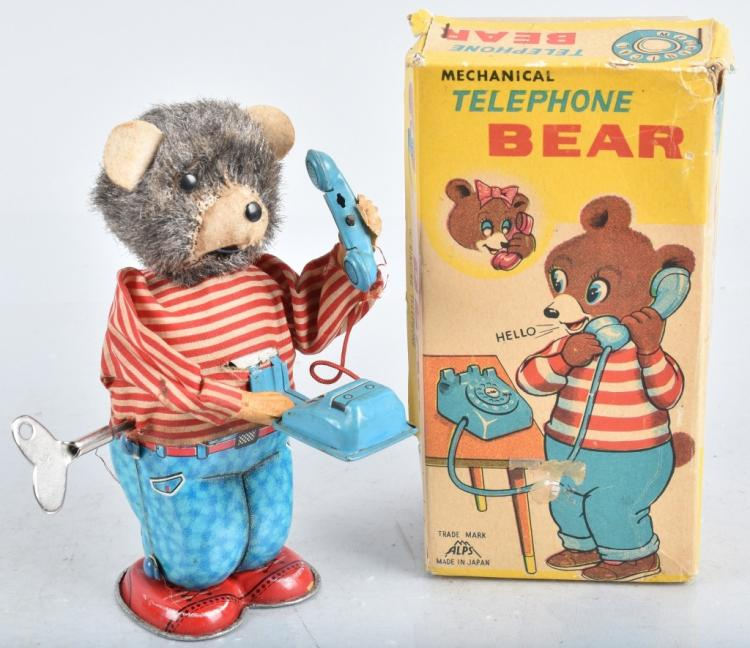 JAPAN Windup TELEPHONE BEAR w/ BOX