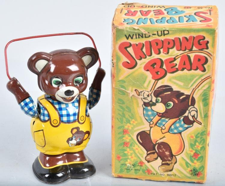 JAPAN Tin Windup SKIPPING BEAR w/ BOX