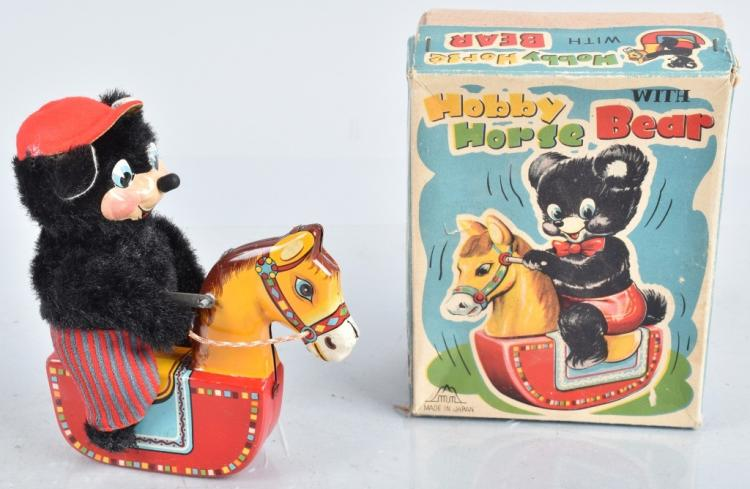 JAPAN Tin Windup HOBBY HORSE BEAR w/ BOX