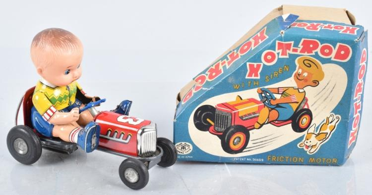 JAPAN Tin Friction HOT ROD With Siren w/ BOX