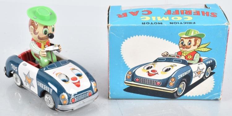 JAPAN Tin Friction COMIC SHERIFF CAR w/ BOX