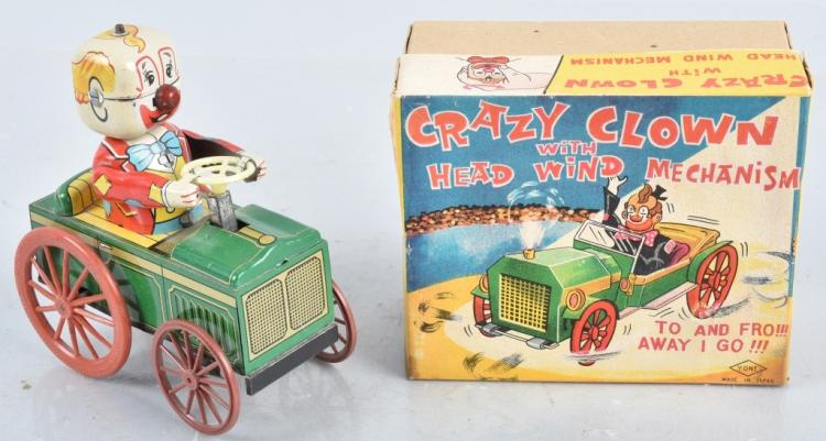 JAPAN Tin Windup CRAZY CLOWN CAR w/ BOX