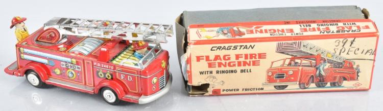 JAPAN Tin Friction FLAG FIRE ENGINE w/ BOX