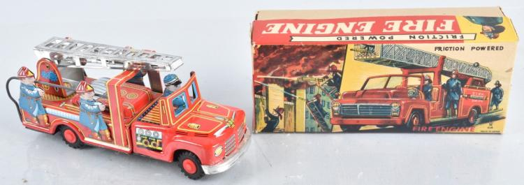 JAPAN Tin Friction FIRE ENGINE w/ BOX