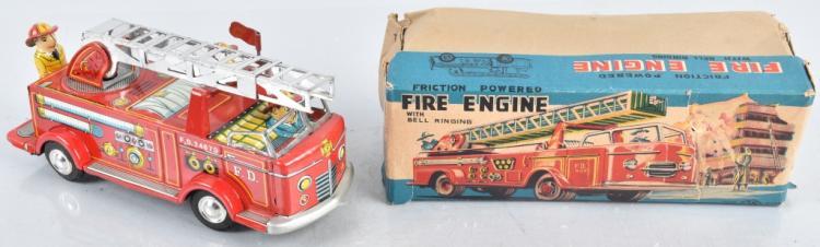 JAPAN Tin Friction FIRE ENGINE w/ BOX