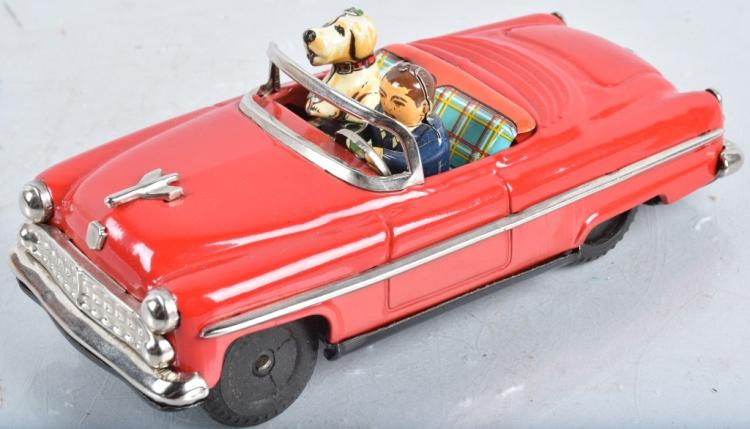 JAPAN Tin Friction MAN & DOG IN CAR