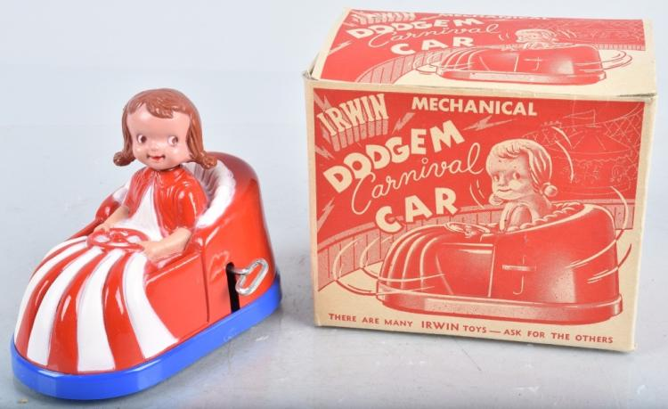 IRWIN Windup DODGEM CARNIVAL CAR w/ BOX