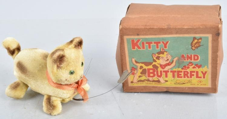 JAPAN Windup KITTY AND BUTTERFLY w/ BOX