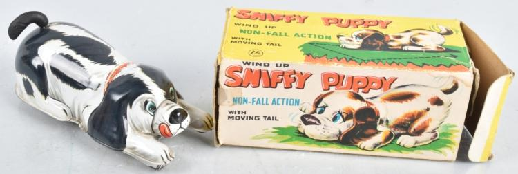 JAPAN Tin Windup SNIFFY PUPPY w/ BOX
