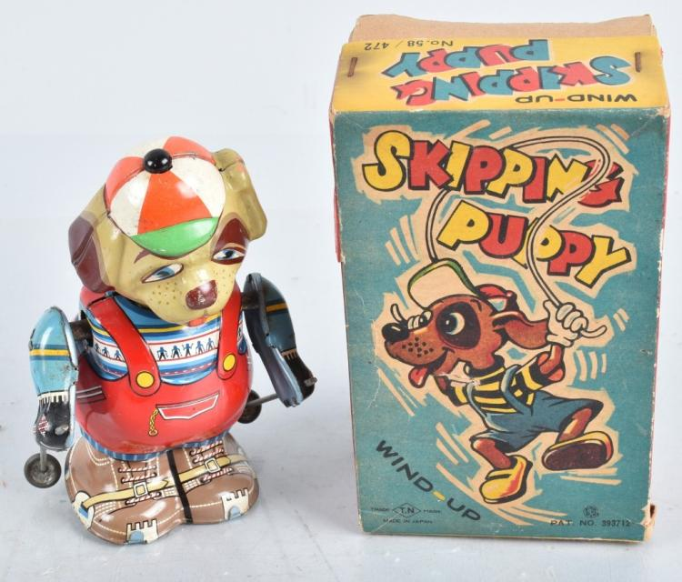 JAPAN Tin Windup SKIPPING PUPPY w/ BOX