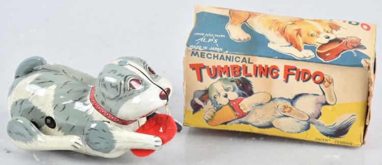 JAPAN Tin Windup TUMBLING FIDO w/ BOX