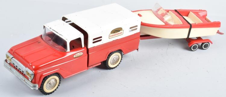 TONKA FISHERMAN PICKUP TRUCK & BOAT w/ TRAILER
