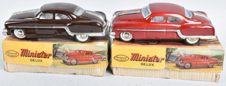 2- MINISTER DELUX TIN FRICTION CARS w/ BOX