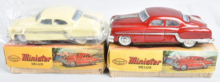2- MINISTER DELUX TIN FRICTION CARS w/BOX