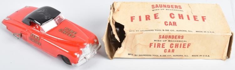 SAUNDER Windup FIRE CHEIF CAR w/BOX