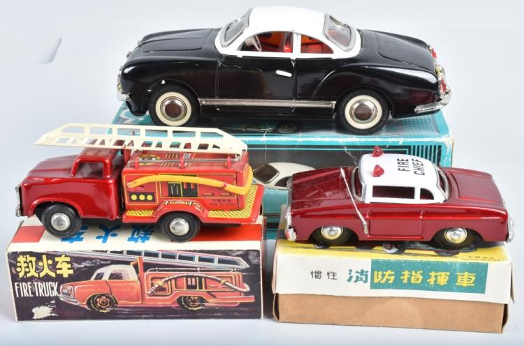 3- RED CHINA VEHICLES w/ BOXES