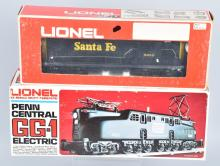 2-LIONEL ENGINES, SANTA FE 8250, AND GG1 8850