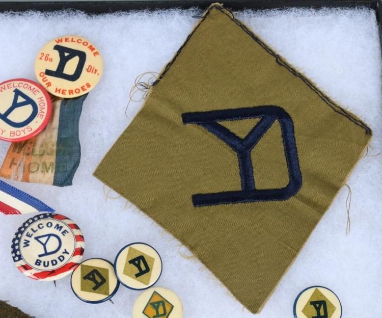 WWI U S  ARMY 26TH YANKEE DIVISION PATCHES BUTTONS
