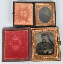 CIVIL WAR 1/6TH & 1/9th SOLDIER AMBROTYPE LOT.