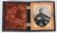 CIVIL WAR 1/9TH PLATE SOLDIER TINTED AMBROTYPE