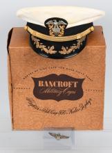WWII US NAVY BACNROFT HAT IN BOX & 3