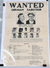 WWII FBI 1942 WANTED POSTER - GERMAN SABOTEUR