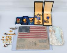 WWII U.S. AAF CBI GROUP - BLOOD CHIT MEDALS MAP