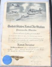 WWII USMC AVIATOR TRAINING CERT. & ORBER WINGS