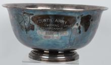 KOREAN WAR ERA ENGRAVED 4TH ARMY SWIMMING BOWL