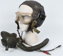WWII U.S. AAF FLIGHT HELMET AVIONICS GOGGLES & O2