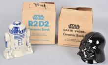 1977 ROMAN DARTH VADER & R2-D2 BANKS MIB