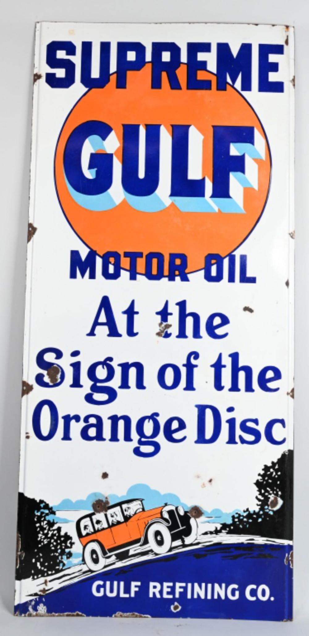 Supreme Gulf Motor Oil At the Sign of the Orange D