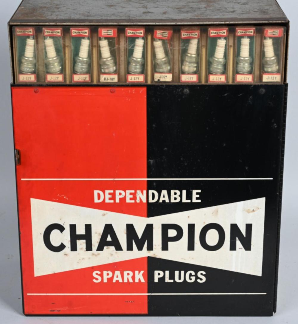 Dependable Champion Spark Plugs Display Cabinet