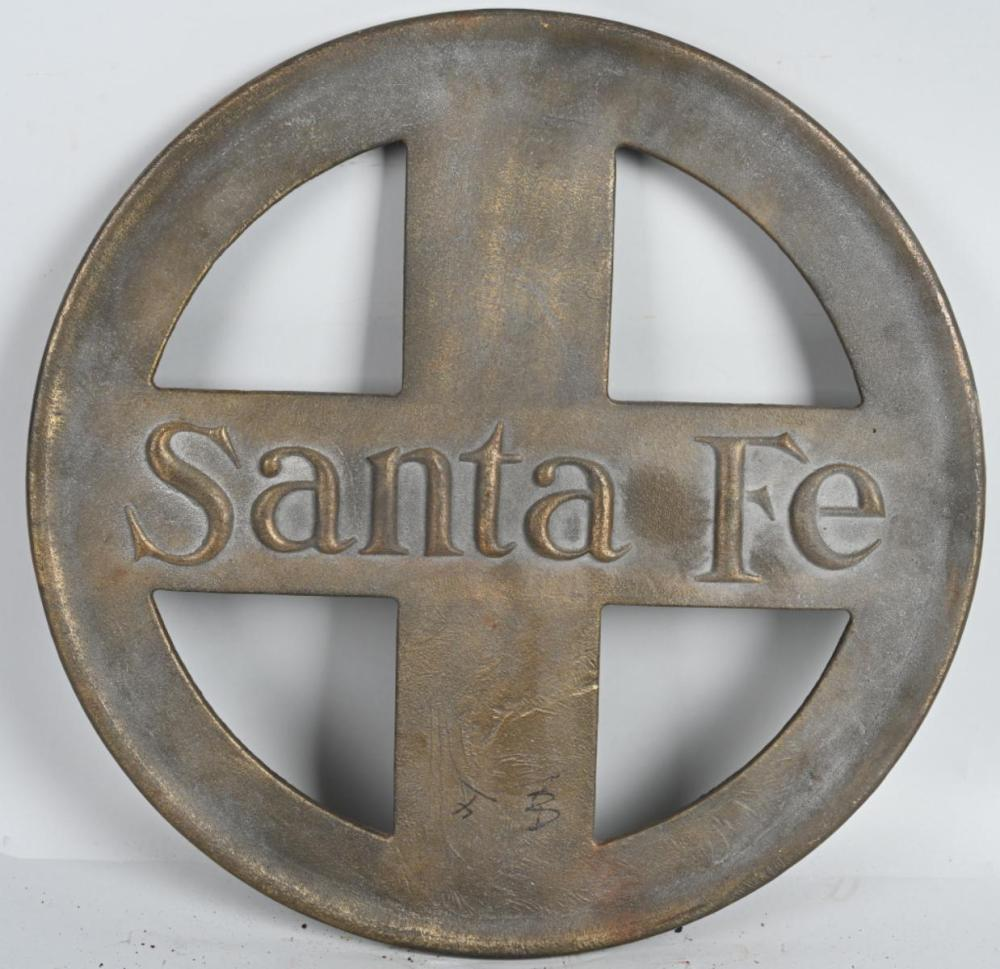 Large Brass Double Sided Santa Fe RR Sign
