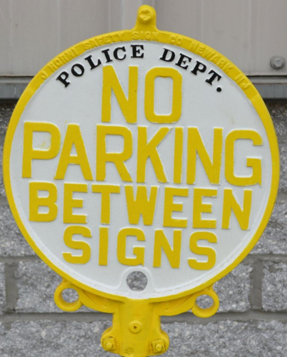 No Parking Between Signs Police Dept Cast Iron Sig
