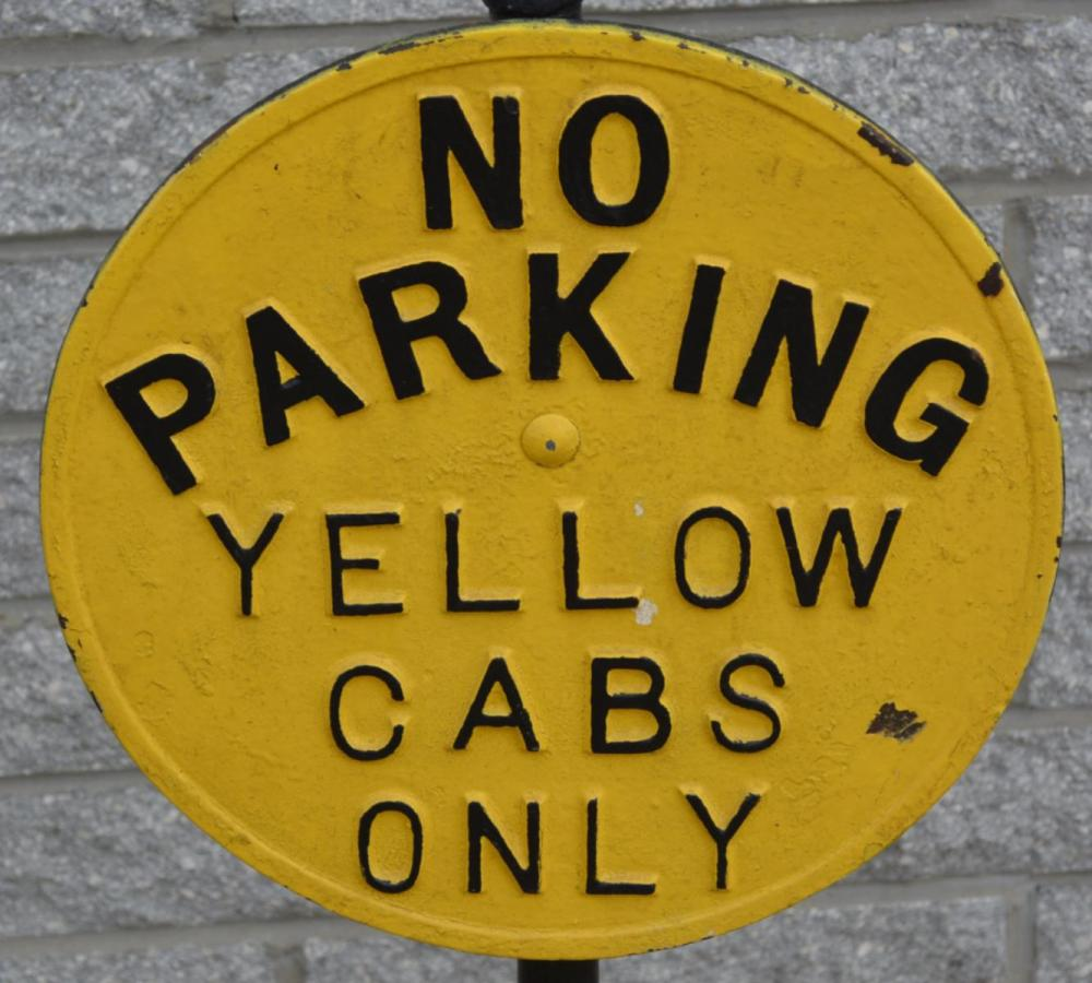 No Parking Yellow Cabs Only Cast Iron Sign