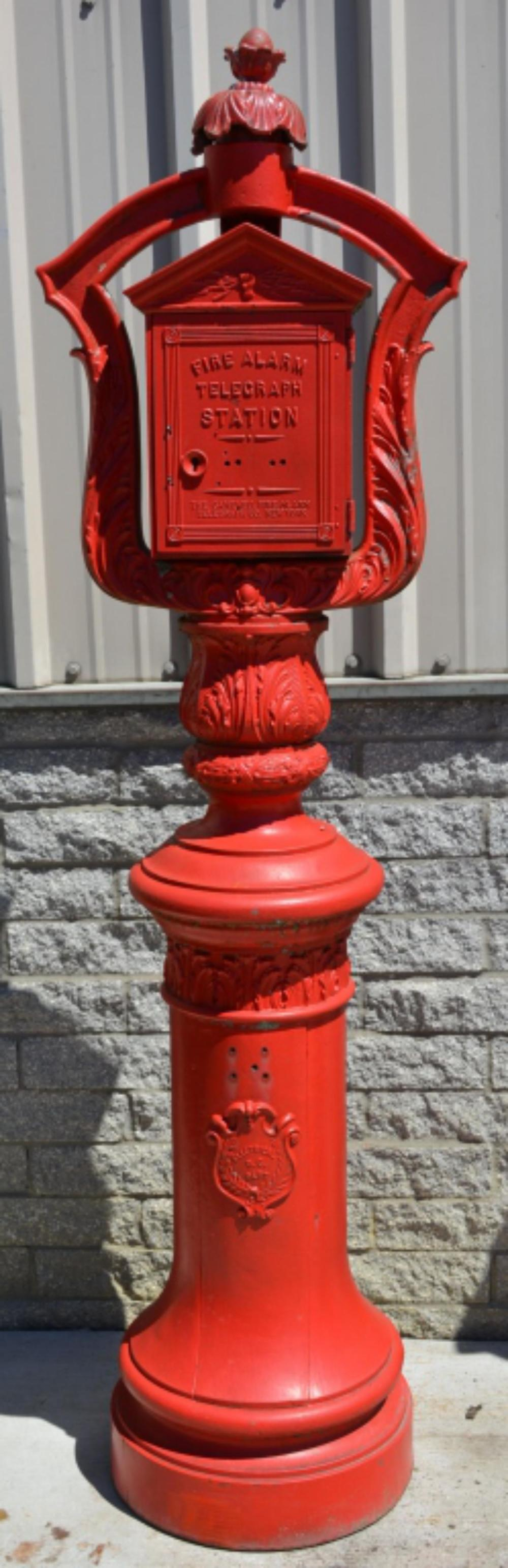 Gamewell Fire Alarm Telegraph Box on Ornate Pedesl