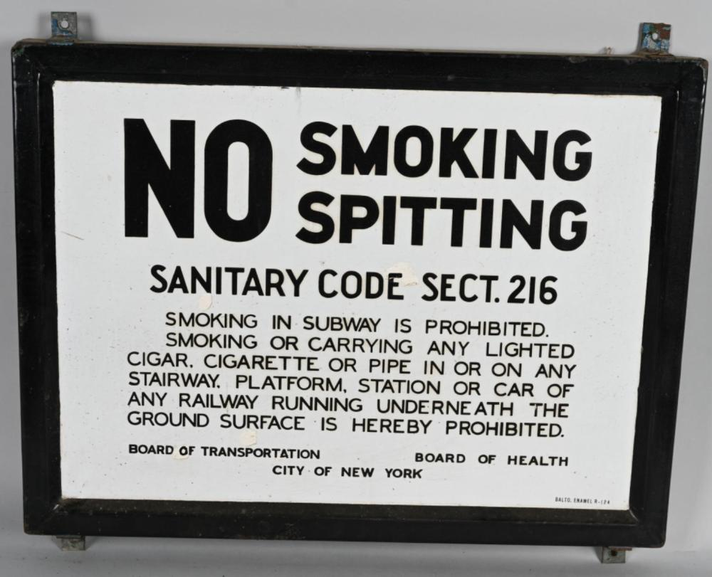 City of New York No Smoking Spitting in Subway Por