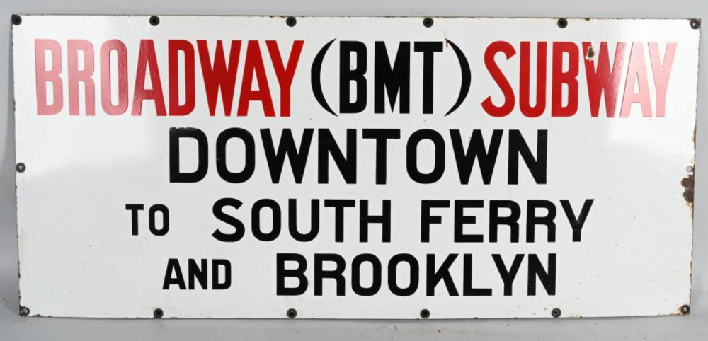 NYC Broadway Subway to Downtown Porcelain Sign