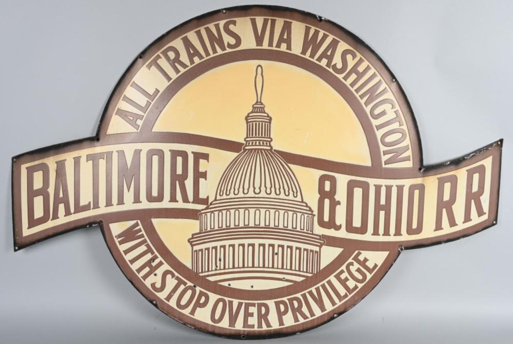 Baltimore & Ohio RR w/nice graphics Porcelain Sign
